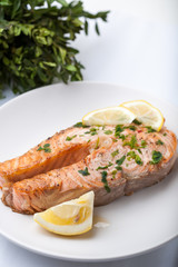 Salmon slice with a lemon and green parsley