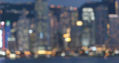 Wall Mural - Blur view of city in Hong Kong at night