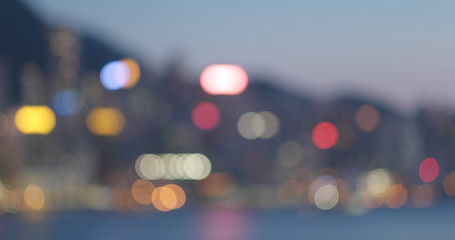 Fotomurales - Blur of city in Hong Kong at night