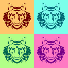 Isolated muzzles of a tiger on colored backgrounds.