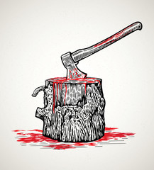 Ax in a wooden stump with blood stains