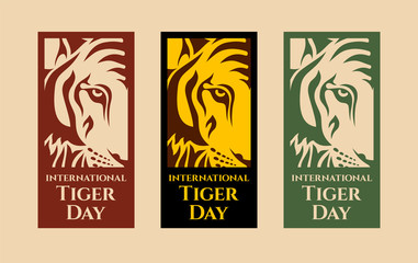 International Tiger day. July 29. Template for your design. Emblem design. Isolated artwork object. Three vector cards with isolated parts of tiger face and inscriptions. Vector color illustration. Wall mural