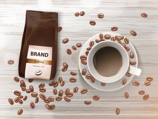 Vector promotion banner with coffee cup on saucer, brown beans and foil package with arabica grains. Top view on white mug with hot drink, espresso, cappuccino or latte. Mockup for brand advertising