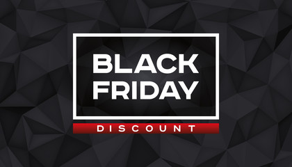 Black Friday Discount. Volume geometric shape, 3d black crystals. Low polygons dark background. Red accent. Vector design polygonal form for you business projects