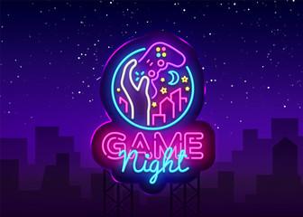 Game Night neon sign Vector logo design template. Game night logo in neon style, gamepad hand, video game concept, modern trend design, light banner, bright nightlife advertisement. Vector Billboard