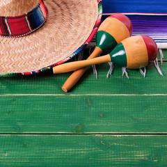 Mexico cinco de mayo wood background mexican sombrero
