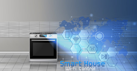 Vector concept illustration of smart house, internet of things, wireless digital technologies to manage and control household appliances. Background with kitchen stove and blue virtual touch screen