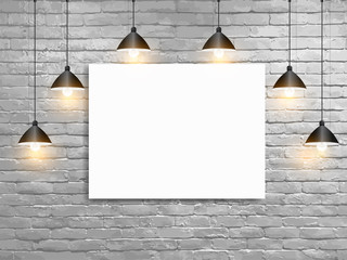 Vector Mock up poster with ceiling lamps white brick wall, Loft workspace concept