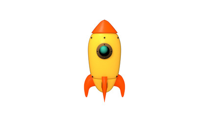 Cartoon space rocket on white background. 3d rendering picture.