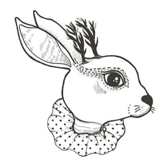Sketch graphic illustration Circus Rabbit with mystic and occult hand drawn symbols. Vector illustration. Astrological and esoteric concept. Old Fashion Tattoos.