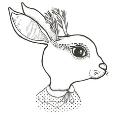 Sketch graphic illustration rabbit with mystic and occult hand drawn symbols. Vector illustration. Astrological and esoteric concept. Old Fashion Tattoos.