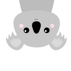Koala face head hanging upside down. Gray silhouette. Kawaii animal. Cute cartoon bear character. Funny baby with eyes, nose, ears. Love Greeting card. Flat design. White background Isolated.