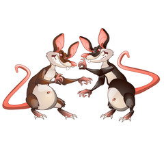 Two evil animated mouse fighting each other isolated on a white background. Vector illustration.