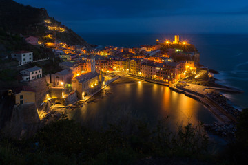 Vernazza at night, one of colorful villages of Cinque Terre, Italy