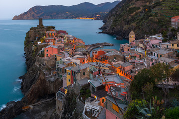 Vernazza at sunrise, one of colorful villages of Cinque Terre, Italy
