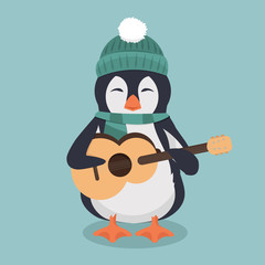 penguin wearing a green hat and scarf with guitar