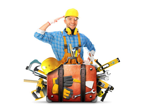 Construction tools and helmet in a bag