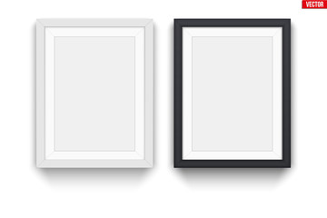 Set of modern picture frames. Mockup white frame for quotes and advertising. Poster Closeup view. Vector Illustration.