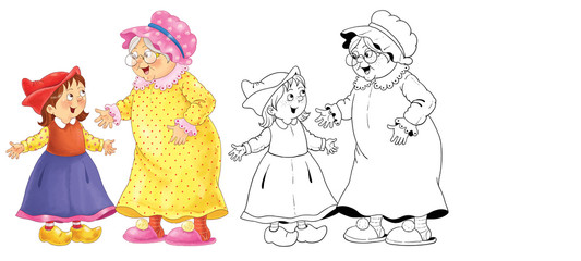 Little Red Riding Hood and others. Fairy tale. Coloring book. Coloring page. Cute and funny cartoon characters