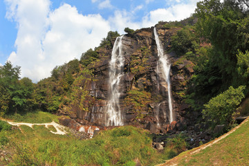 Double falls in mountains. The photo is made by Fisheye