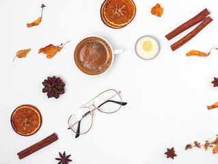 Autumn flat lay with coffee and other objects