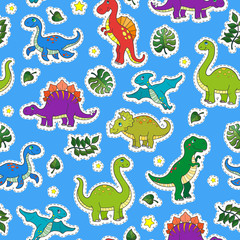 Seamless pattern with colorful dinosaurs and leaves,patch icons on blue background