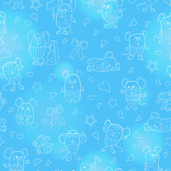 Seamless pattern with funny cartoon contour mouses ,the  white outline on a blue background