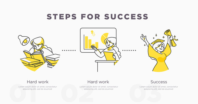 Steps for success. Study and life achievements and success concept. Vector illustration
