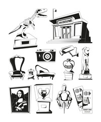 Monochrome pictures for museum exhibition. Vector set isolate
