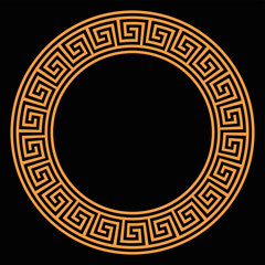 Ring with seamless meander pattern on black background. Orange meandros, a decorative border, made of lines, shaped into a repeated motif and design. Also Greek fret or Greek key. Illustration. Vector