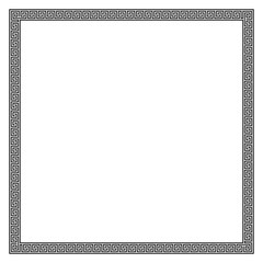 Square frame made of seamless meander pattern. Meandros, a decorative border, constructed from continuous lines, shaped into a repeated motif. Greek fret or Greek key. Illustration over white. Vector.