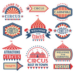 Carnival event logotypes template. Vector badges set isolate