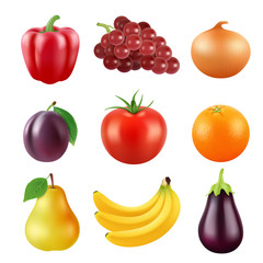 Realistic vector pictures of fresh fruits and vegetables