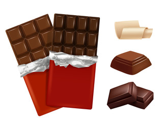 White and dark chocolate. Vector pictures of different pieces of chocolate