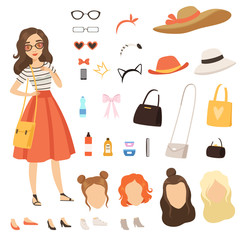 Clothing of fashionable girl. Cartoon female character with various fashion accessories and clothes