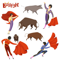 Bullfighting characters. Vector illustration of spanish corrida peoples