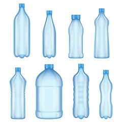 Plastic bottles for water. Realistic vector pictures of various types transparent bottles