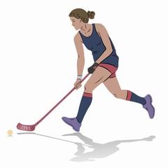 illustration of floorball player, vector draw