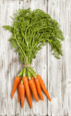 Carrots roots rustic wooden background Organic food nutrition