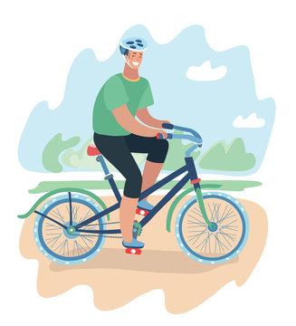 Smiling cartoon man riding on a bike