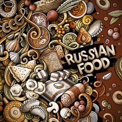 Cartoon vector doodles Russian food frame