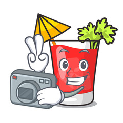 Photographer bloody mary mascot cartoon