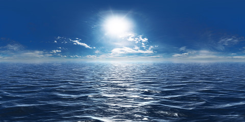 Stores à enrouleur Mer / Ocean Meer, Sonne und wenig Wolken 360° Panorama
