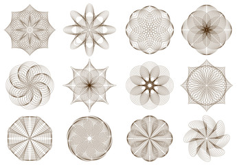 Set of stylized flower ornaments made of crossing ellipses. Geometric circle vector image.