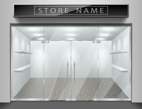 Template for advertising store front facade. Realistic Exterior empty shop with window. Blank mockup of stylish glass street shop. Vector illustration