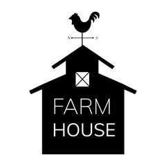 Rooster farm house illustration