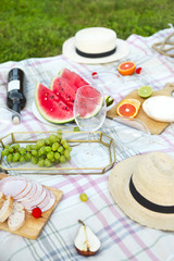 Picnic with white wine on green grass