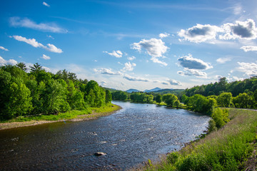 The Ausable River in a beautiful landscape view