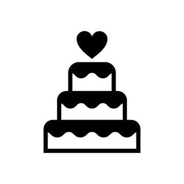 Three-tiered wedding cake graphic illustration