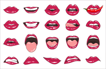 Lips patch collection. Vector illustration of sexy doodle woman lips expressing different emotions, such as smile, kiss, half-open mouth, biting lip, lip licking, tongue out. Isolated on white.
